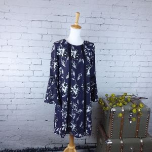 Vince Camuto Floral Bell Sleeve Shift Dress Navy 8